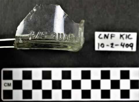 Colorless Glass Owens Illinois Glass Company Bottle Base Fragment - Exterior with Embossing